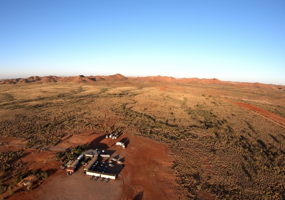 The scientists' camp in the outback