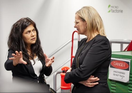 Professor Veena Sahajwalla and federal Environment Minister Sussan Ley