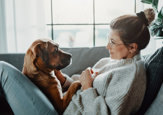 Woman cuddling her dog on her couch