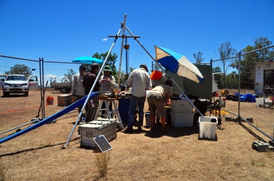 A team extracting groundwater