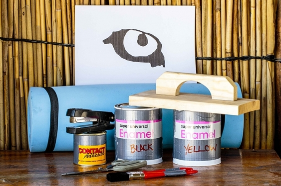 Tools for painting eyes on cows