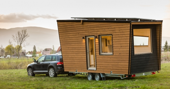A tiny house on wheels