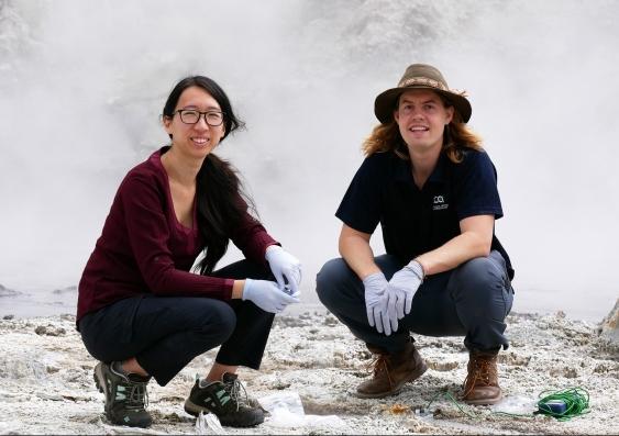 Anna Wang and Luke Steller at Tikitere in Rotorua New Zealand