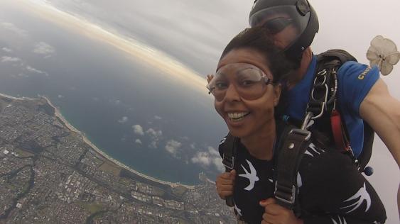 Asheeta Prasad skydiving near Wollongong