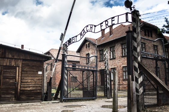 The main gates to Auschwitz concentration camp