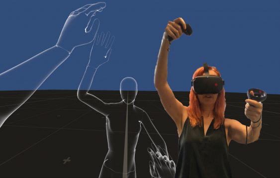 Body mapping session in Virtual Reality using EmbodiMap developed by UNSW fEEL Lab Scientia Professor Jill Bennett and lead immersive media designer Volker Kuchelmeister. Image: Dr Jill Bennett.png