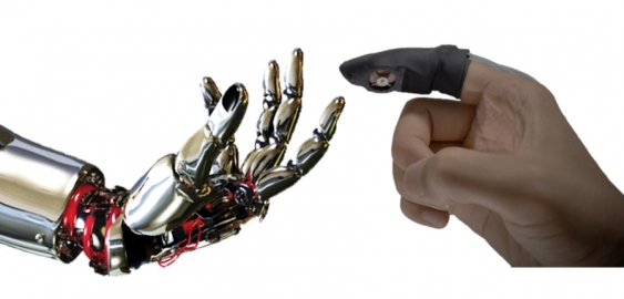 A new finger glove device on a human hand, contrasted with a robotic hand