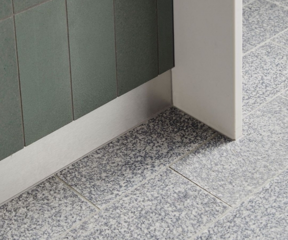 floor tiles and island bench tiles made from recycled materials