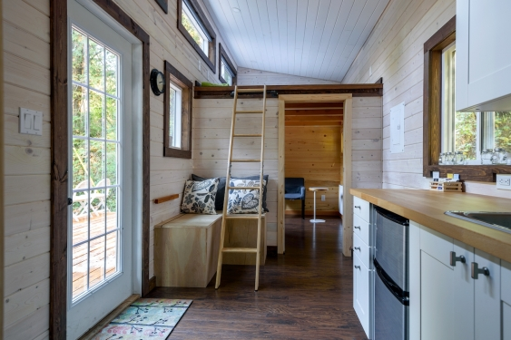the interior of a tiny home