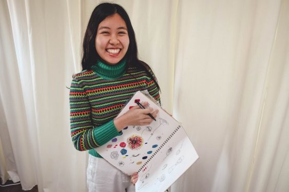 UNSW A&D student Esther Leung with her sketchings for Karolina York
