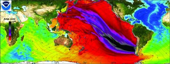 NOAA model of wave amplitudes for the 1960 tsunami using historical data