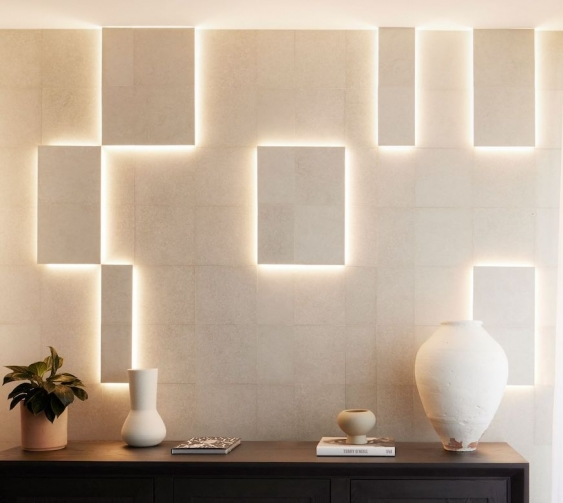 pavilions apartment wall and lighting featuring green ceramics