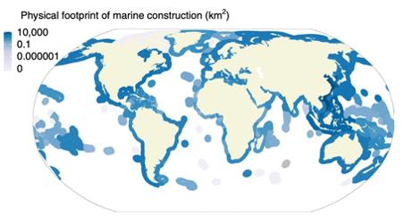 physical footprint of marine construction (km2)