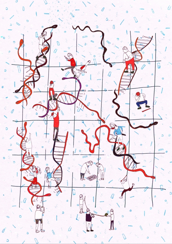 snakes_and_ladders_-_workman_repairing_dna_and_snakes_potentially_preventing_them_from_doing_this._jackie_mostek.jpg