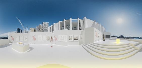 Virtual architecture exhibit on Sydney city rooftop