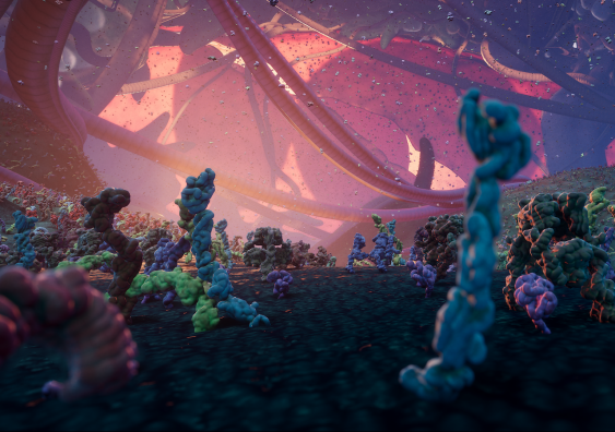 Nanoscape: A 3D computer-generated real-time visualisation depicting proteins and cellular processes on the surface of a cancer cell. Image: 3D Visualisation Aesthetics Lab, UNSW Sydney.