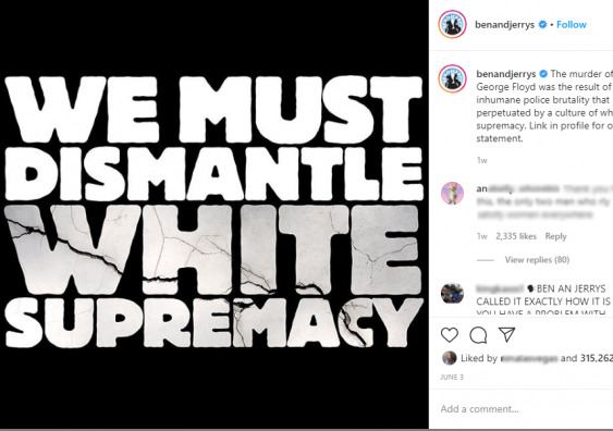 Screenshot of Ben and Jerry's social media post with text saying 'We Must Dismantle White Supremacy'