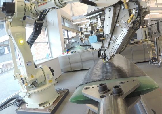 The propeller blades are made using a digital design process with robots.
