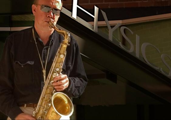 Prof Joe Wolfe plays saxophone