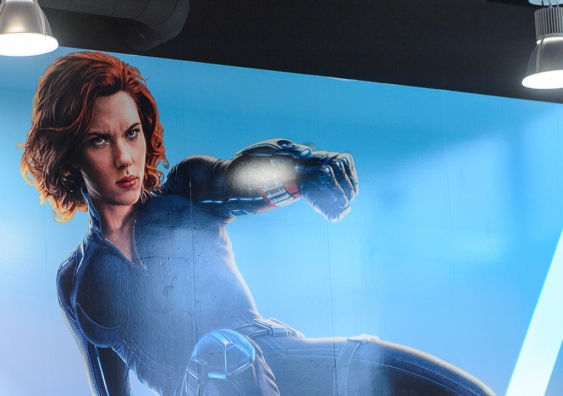 A poster of Scarlett Johansson as Black Widow at the Avengers Station complex in Las Vegas.