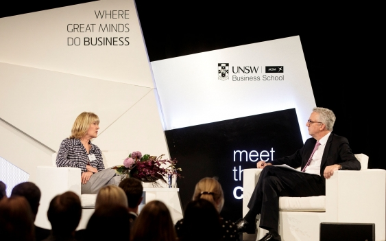 Katie Page in an interview with Mark Scott AO at UNSW's Meet the CEO event.