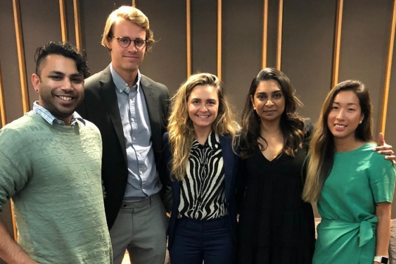 UNSW postgraduate students winning the 2019 Big Idea competition at PwC Melbourne. From left to right: Mikhail Mathias, Jules Grimont, Lauren Hayes, Shehara Hapugalle and Liana Nguyen.