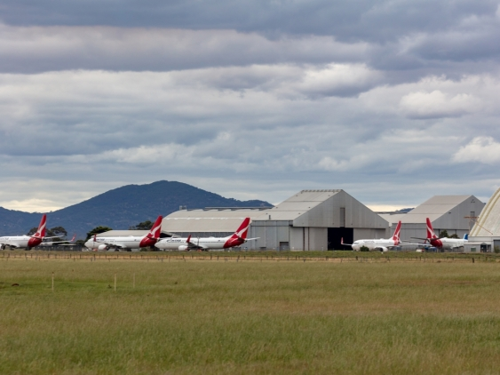 Qantas aircraft grounded at Avalon Airport due to the COVID-19 outbreak.