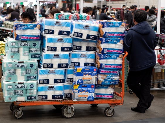 Costco shoppers panic buying toilet paper in San Francisco, California.