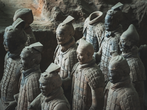 A close-up of Terracotta Warriors at the Emperor Qinshihuang's Mausoleum Site Museum.