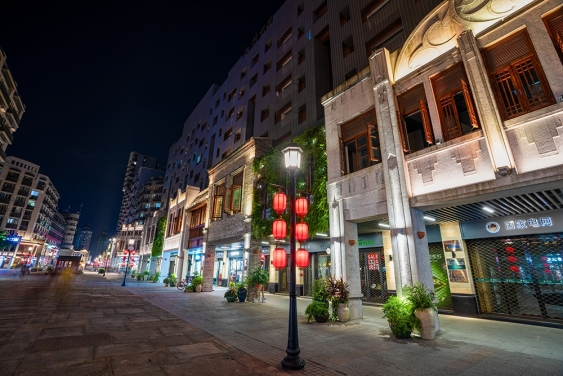 renovatd zen street with plants and lights at night