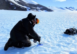 Professor Chris Turney drilling in the Patriot Hills area