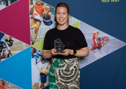Alex Blackwell with her trophy at the Her Sport Her Way Awards