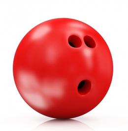 Surprised looking bowling ball
