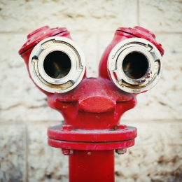 A fire hydrant with what look like two eyes, nose and a mouth
