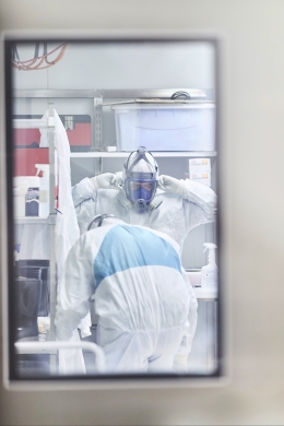 Kirby Institute researchers preparing to enter the PC3 containment lab