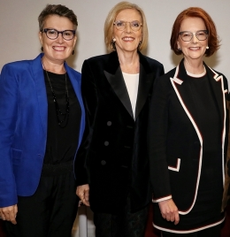 Louise Chappell with Jenny Brockie and Julia Gillard