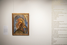 An artwork and poem at the Worlding with Oysters exhibition