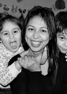 Asheeta Prasad with her children Jiya and Desmond