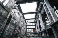 An abandoned warehouse ruin