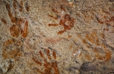 hand prints on wall