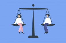 illustration of a man and woman balanced on giant_scales