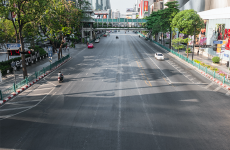 empty road in downtown Bangkok