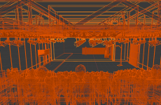 wireframe image of theatre in 3D cinema