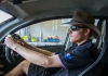 reuben hackett driving Violet the solar car