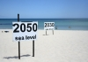 A beach with two signs denoting predicted sea levels in 2030 and sea levels in 2050