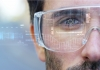 Man wears glasses with holographic augmented reality technology