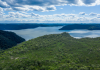 Aerial view of hills forest and the Hawkesbury River at Ku-ring-gai Chase National Park