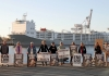 animal rights protesters oppose live export at a shipping port