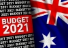 Text reads Budget 2021 next to Australian flag