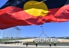 The Aboriginal flag flying over Parliament House in Canberra